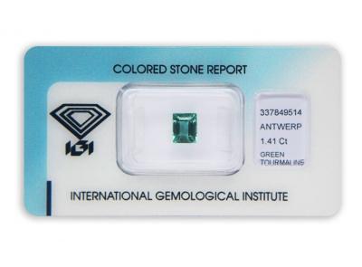 zelený turmalín 1.41ct blue-green s IGI certifikátem