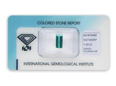 zelený turmalín 1.55ct blue-green s IGI certifikátem