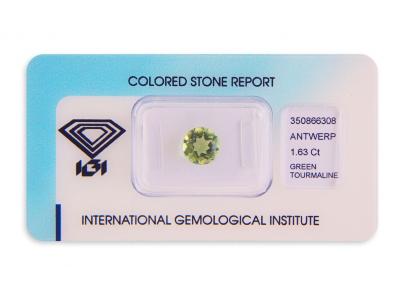zelený turmalín 1.63ct yellowish green s IGI certifikátem