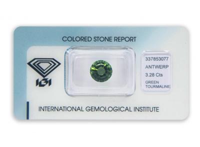 zelený turmalín 3.28ct deep green s IGI certifikátem