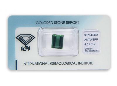 zelený turmalín 4.01ct deep green s IGI certifikátem