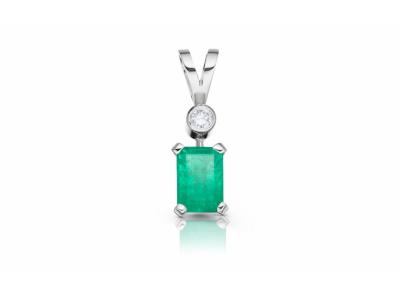 zlatý přívěsek se smaragdem 0.92ct green s IGI certifikátem