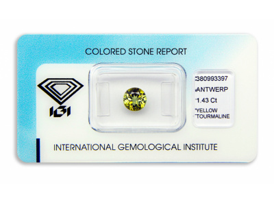 žlutý turmalín 1.43ct green-yellow s IGI certifikátem