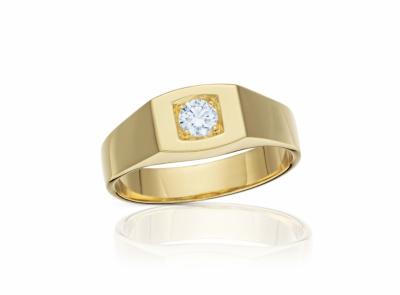 pánský zlatý prsten s diamantem 0.33ct G/SI2 s HRD certifikátem