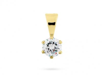 zlatý přívěsek s diamantem 0.26ct J/VVS2 s IGI certifikátem