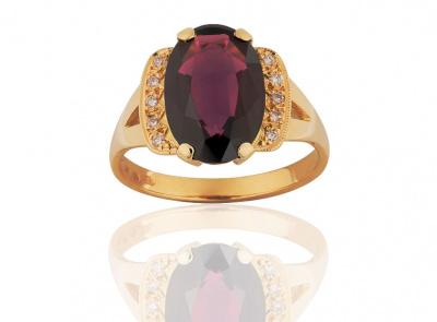 zlatý prsten s almandinem 4.26ct s certifikátem IGI