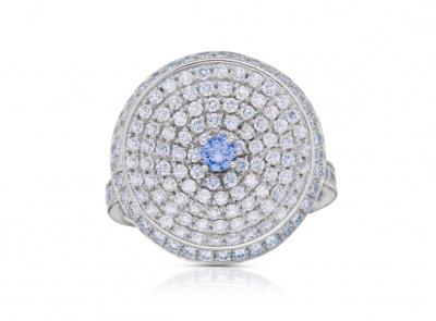 zlatý prsten s diamantem 0.12ct FANCY GRAYISH VIOLET/VS2 s GIA certifikátem (celkem 1.73ct)