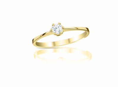zlatý prsten s diamantem 0.13ct H/VVS1 s EGL certifikátem