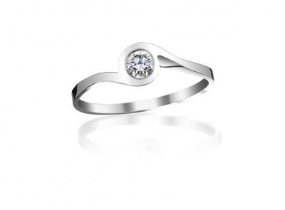 zlatý prsten s diamantem 0.18ct F/VS2 s EGL certifikátem