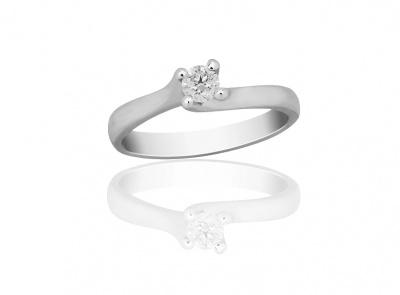 zlatý prsten s diamantem 0.19ct F/SI3 s EGL certifikátem
