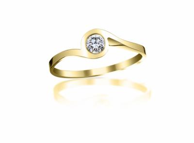 zlatý prsten s diamantem 0.19ct J/VVS1 s EGL certifikátem