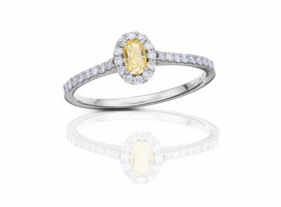 zlatý prsten s diamantem 0.32ct Fancy Intense Yellow/SI1 s IGI certifikátem