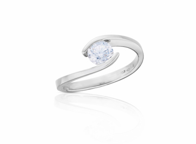 zlatý prsten s diamantem 0.33ct F/VS1 s HRD certifikátem