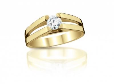 zlatý prsten s diamantem 0.343ct J/VS1 s IGI certifikátem