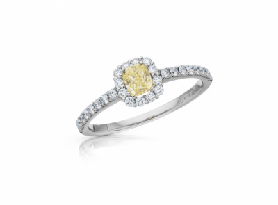 zlatý prsten s diamantem 0.38ct Fancy Intense Yellow/SI1 s IGI certifikátem