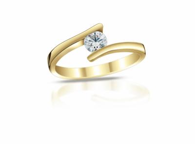 zlatý prsten s diamantem 0.40ct J/VVS2 s HRD certifikátem