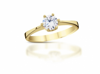 zlatý prsten s diamantem 0.41ct I/SI2 s HRD certifikátem