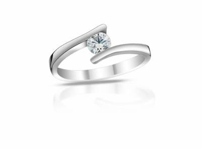 zlatý prsten s diamantem 0.44ct D/SI1 s HRD certifikátem