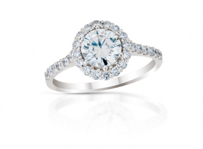 zlatý prsten s diamantem 0.85ct F/SI1 s IGI certifikátem (celkem 1.25ct)