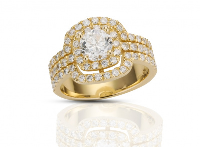 zlatý prsten s diamantem 1.00ct E/SI2 s EGL certifikátem (celkem 1.91ct)