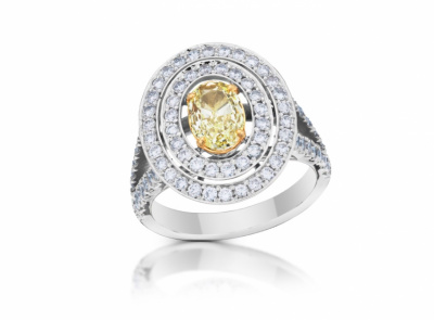zlatý prsten s diamantem 1.01ct Y-Z/VVS1 s GIA certifikátem (celkem 1.94ct)