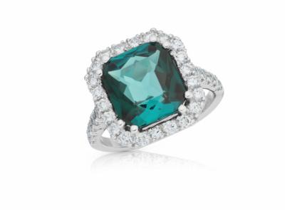 zlatý prsten s indigolitem 4.39ct green-blue s IGI certifikátem