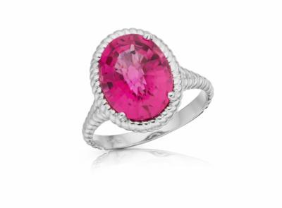 zlatý prsten s rubelitem 4.66ct reddish purple s IGI certifikátem