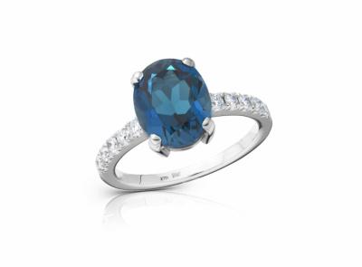 zlatý prsten s topazem 3.59ct deep blue s IGI certifikátem