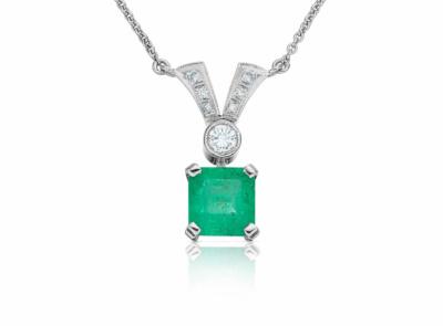 zlatý závěs se smaragdem 1.75ct green s IGI certifikátem