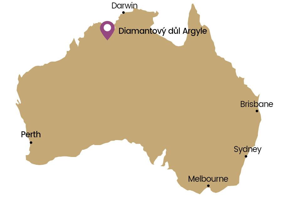 Mapa důl Argyle