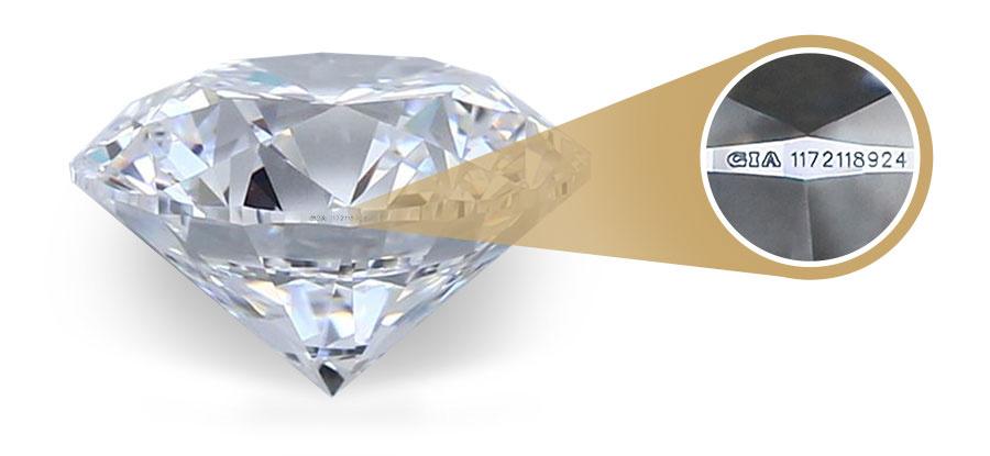 jak poznat pravý diamant - laserová inskripce