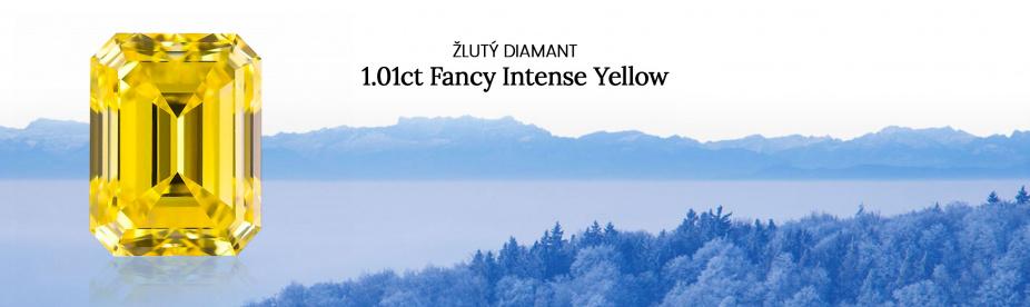 Žlutý diamant 1.01ct Fancy Intense Yellow