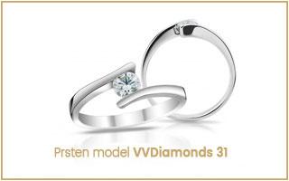 elegantní diamantový prsten