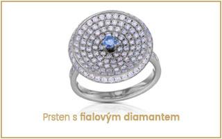 prsten s fialovým diamantem