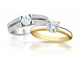 zlaté prsteny s diamantem