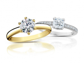 Zlaté zásnubní prsteny s diamantem
