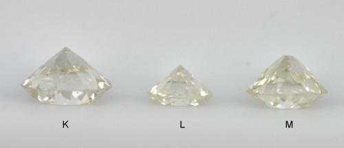 diamanty barvy K, L a M
