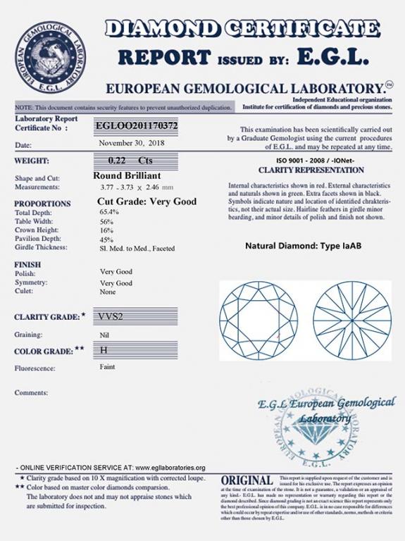 ecda13019 zlaté náušnice 0.44ct H/VVS2-VS1 s EGL certifikáty | VVDiamonds