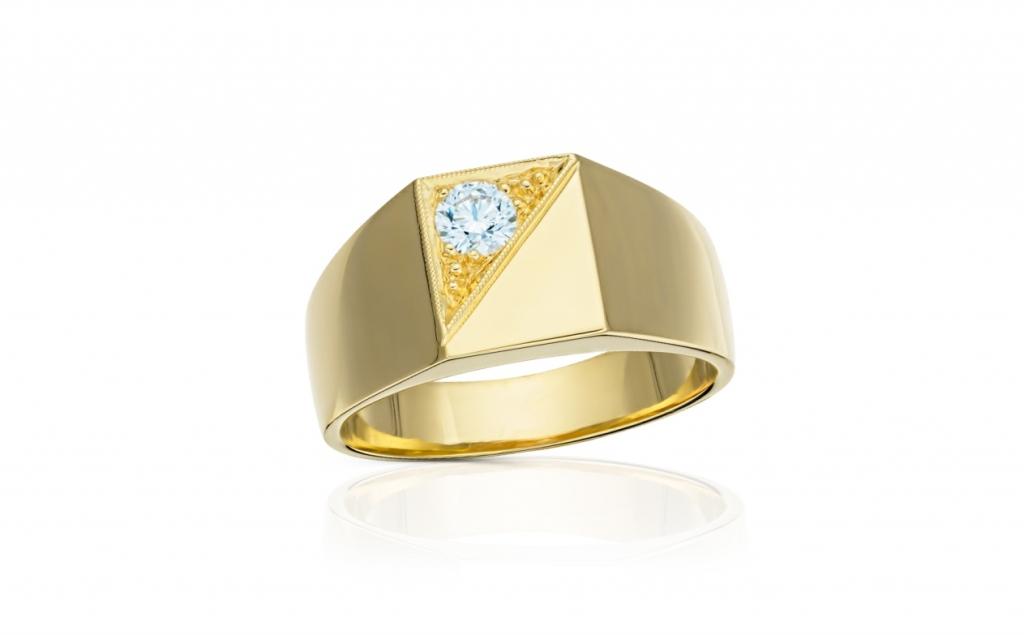 8d5a543be pánský zlatý prsten s diamantem 0.31ct J/VVS2 s GIA certifikátem ...