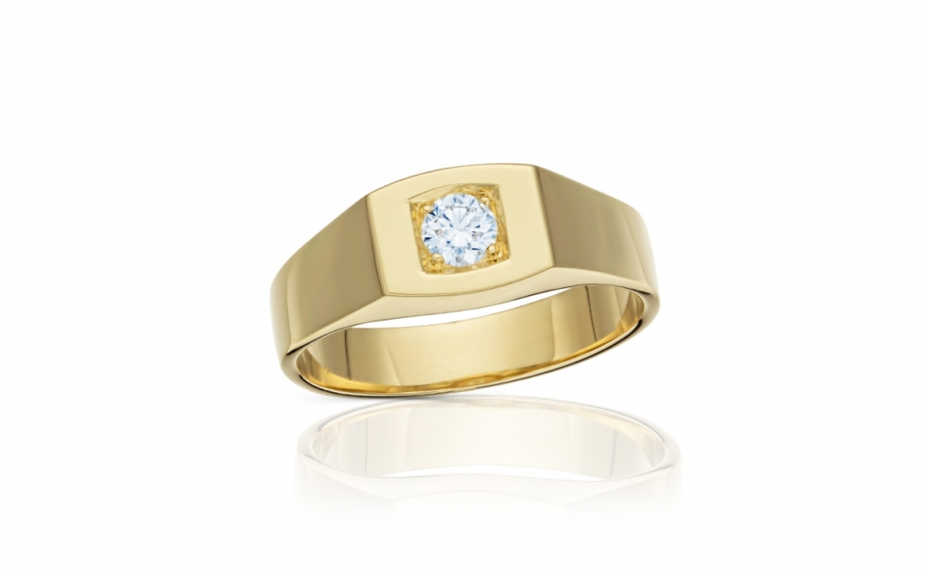 e5bfed40e pánský zlatý prsten s diamantem 0.33ct G/SI2 s HRD certifikátem ...