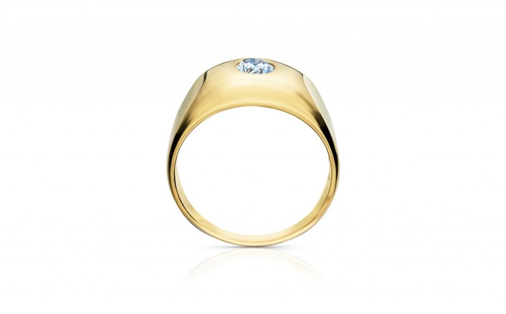 f85b722d0 pánský zlatý prsten s diamantem 0.82ct K/SI1 s GIA certifikátem ...