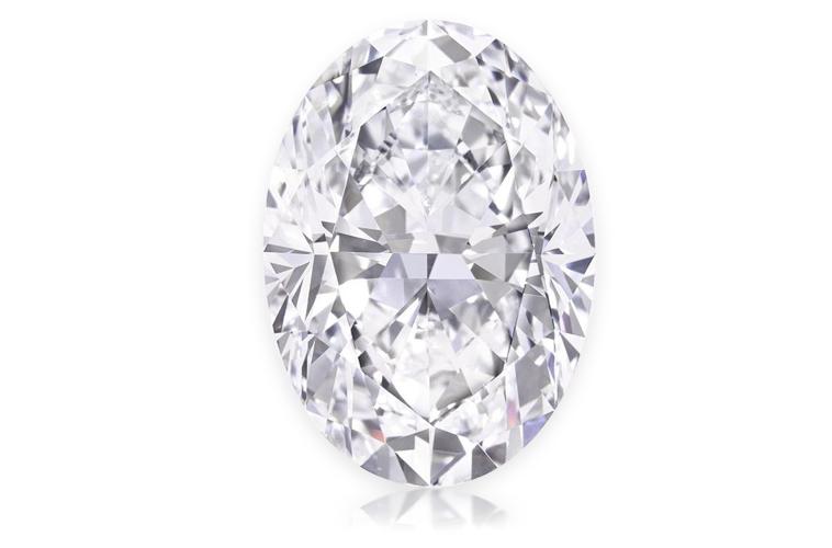 diamant 50.39 ct tvar oval barva D čistota FL