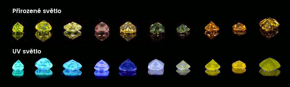 fluorescence barevných diamantů