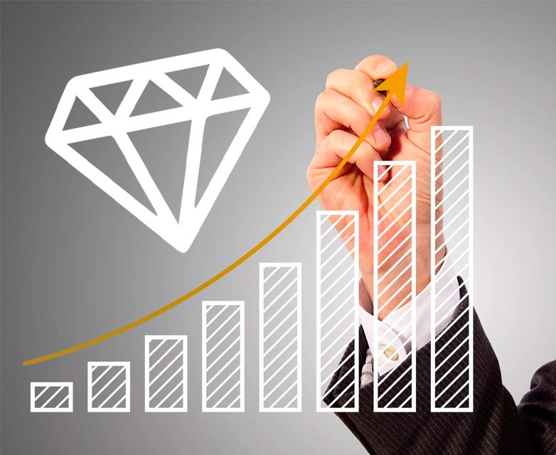 nárůst cen diamantů