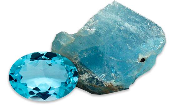 modrý topaz - brus a surový