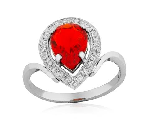 prsten s ohnivým opálem