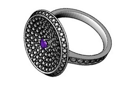 návrh prstenu s fialovým diamantem