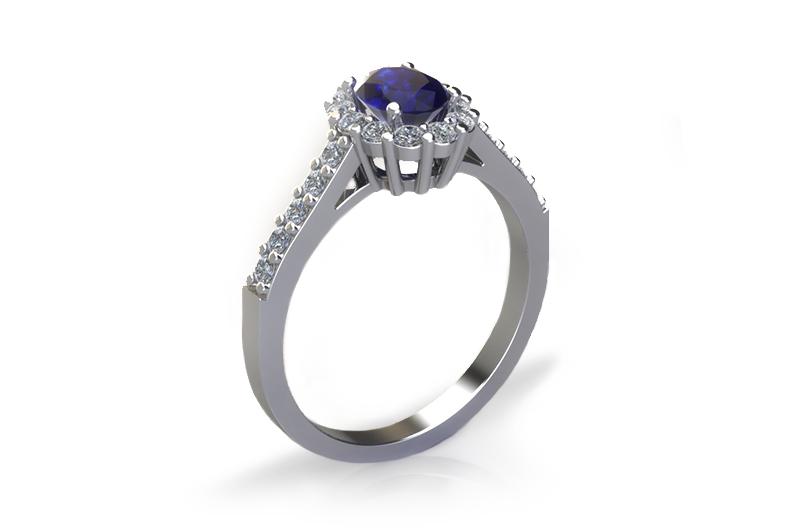 vizualizace prstenu se safírem