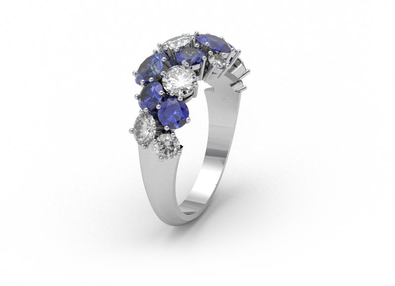 vizualizace prstenu se safíry