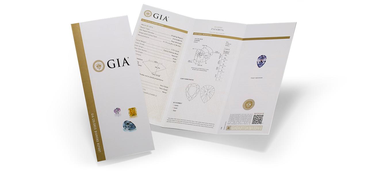 GIA - Certifikát pro barevné diamanty